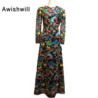 New Arrival 2018 Arabic Formal Party Dress Slim O Neck Floor Length Bohemian Style Floral Evening Dresses Long Sleeve