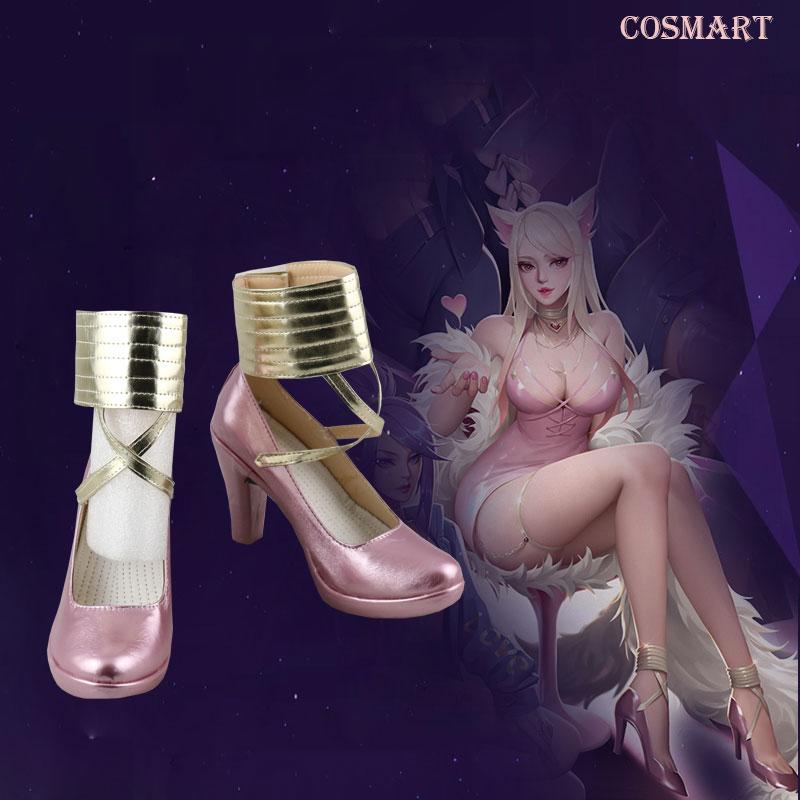 [Customize] LOL KDA Ahri Cosplay Shoes K/DA Ahri Pink  High Heels For Women 2018 Hot Game free shipping