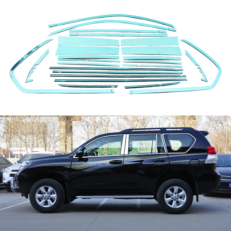 Stainless Steel Window Trim Strip For Toyota Land Cruiser Prado 2010 2011 2012 2013 2014 2015 Auto Accessories Car Styling 10-20 stainless steel full window with center pillar decoration trim car accessories for hyundai ix35 2013 2014 2015 24