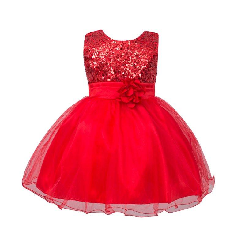 Nyári Csecsemő Baby Girls Mesh Formal Ujjatlan Bling Sashes Virág - Bébi ruházat