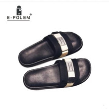 2018 Summer M n Slippers Leather Fashion Flip Flops Male Slippers PVC Flat Slippers Men Shoes