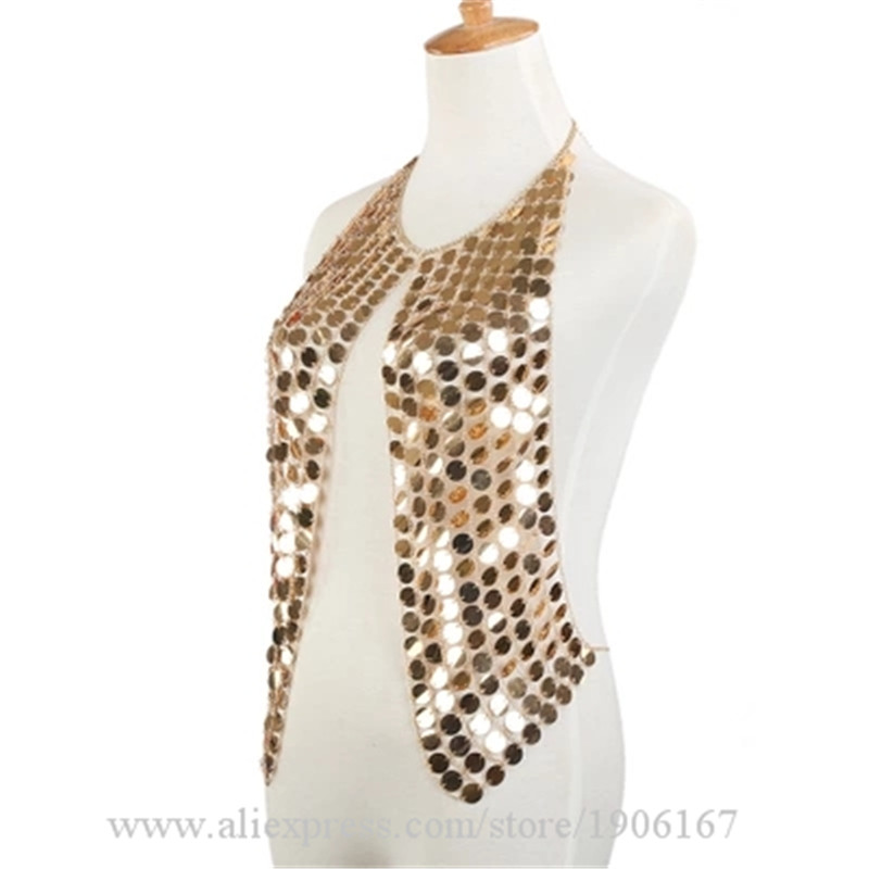 Gold Mirror Women Sexy Vest Female Singer DJ DS Dance Stage Costume Nightclub Bar TV Show Clothing Performance Clothes