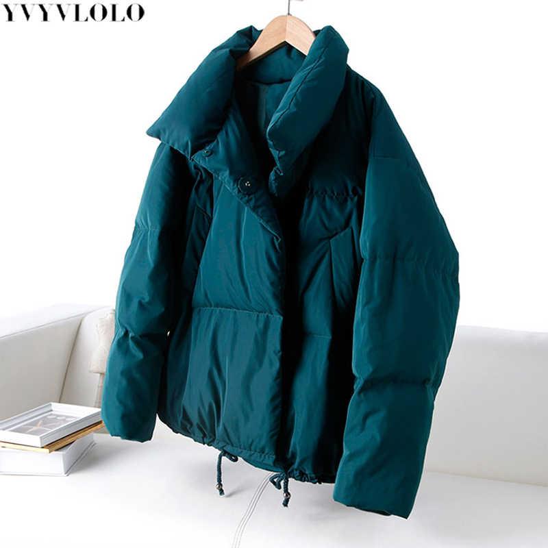 YVYVLOLO Herfst Winter Jas Vrouwen Jas 2019 Mode Vrouwelijke Stand Winterjas Vrouwen Parka Warm Casual Plus Size Overjas