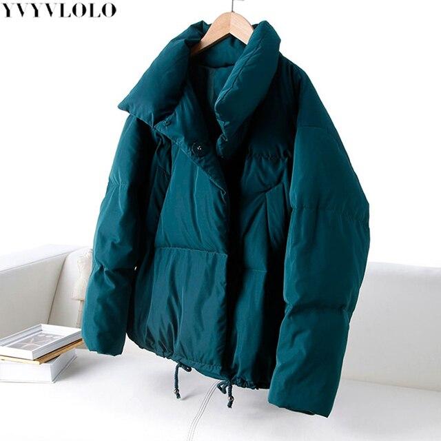 YVYVLOLO Sonbahar Kış Ceket Kadın Ceket 2019 Moda Kadın Standı Kış Ceket Kadın Parka Sıcak Rahat Artı Boyutu Palto