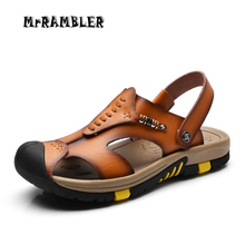 New Summer Shoes Men's Leather Sandals Brown Outdoor Casual Beach Walking Slippers Flat Sandals Men Shoes