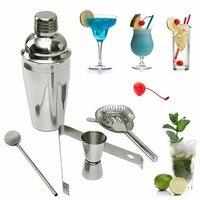 750 ML 5 Pçs/set Pinças de Gelo de Aço Inoxidável Cocktail Shaker Drink Mixer Hawthorn Coador Colher de Mistura Copo Medida Ferramenta Bar