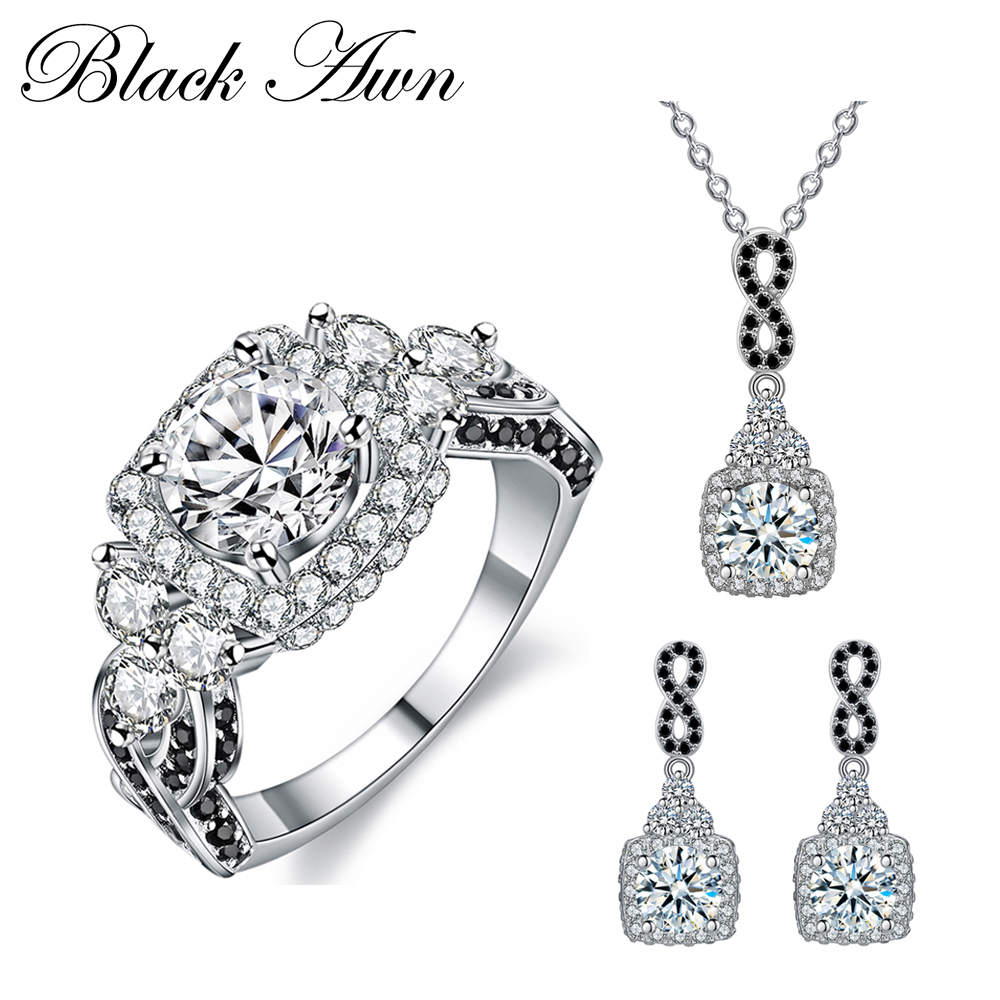[BLACK AWN] 925 Sterling Silver Fine Jewelry Sets Trendy Engagement Sets Ring+Earring+Necklace for Women PTR152 [black awn] 925 sterling silver fine jewelry set trendy engagement wedding necklace earring for women pt161