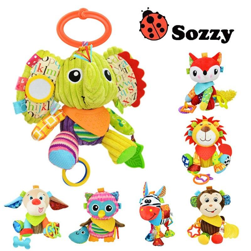 1 pcs Sozzy Multifuncional Carrinho De Bebê Carrinho De Bebê Brinquedos Chocalhos Mobiles Infantil Algodão Macio Carro Chocalhos Cama Pendurado Brinquedos de Pelúcia Animais