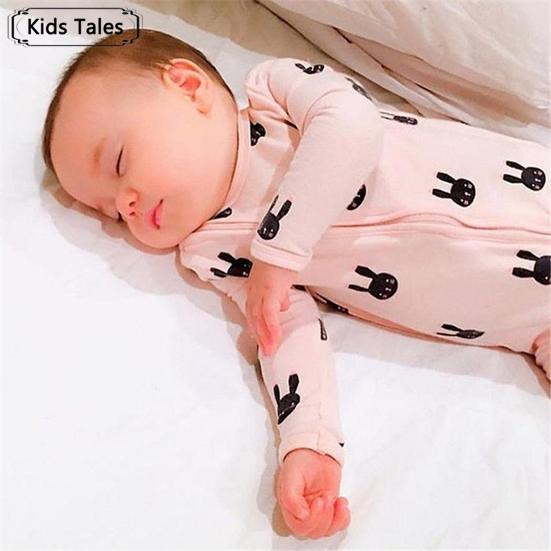 Newborn Baby Boy Clothes Infant   Romper   Long Sleeve Rabbit Print Cute Baby Girl   Rompers   Jumpsuit Pajamas Baby Clothing SR126
