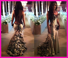 2014 Sexy Champagne Sweetheart See Through Backless Ruffles Mermaid Prom Dress Evening Gown Taffeta E4984