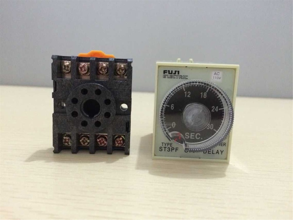 110VAC//DC 0-10 Seconds Power Off Delay Time Relay With Socket Base PF083A