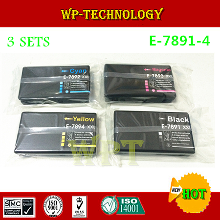 12PK  Compatible ink cartridges suit for 7891 XXL - 7894 XXL , suit for Epson WF-4630 WF-4640 WF-5110 WF-5190 WF-5620 WF-5690 1 piece t6710 maintenance waste ink tank box for epson workforce pro wp 4530 4540 4020 wf 4630 4640 5690 wf 5190 5620 5110
