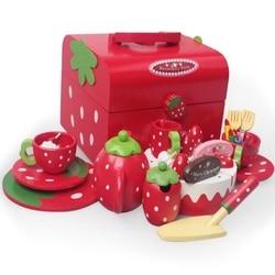 الفراولة الأحمر محاكاة كعكة عيد ميلاد مجموعة اللعب والتظاهر الغذاء مجموعة ، طقم شاي ، قطع الكعك مجموعة ، صينية ، هدية عيد ميلاد