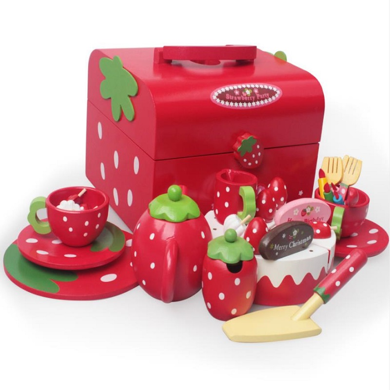 Strawberry Red Simulation Birthday Cake Group Play & Pretend Food Set,Tea Set , Cutting Cakes Set, Tray,  Birthday Gift
