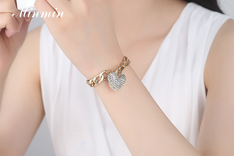 Minmin Lovely Silver/Gold-Color Strand Bracelets for Women Heart Crystal Pendant Chain Bracelets & Bangles Fashion Jewelry SL063 6