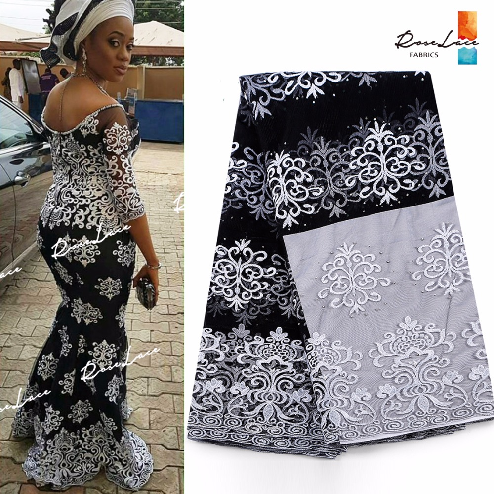 White Embroidered Guipure Mesh Lace Fbaric With Stones 2017 Latest African French Black Net Lace Nigeria