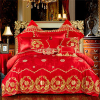 Chinese Wedding Red Bedding Set Double happiness Gold Phoenix Bird 60s Satin Jacquard Lace Embroidery Luxury Wedding Duvet Cover