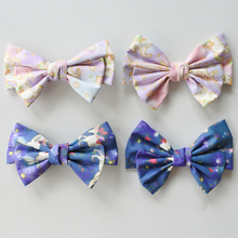 Floral Print Large Bow Hair Clips For Girls Boutique Bows Cartoon Stars Unicorn Women Barrettes Accessories