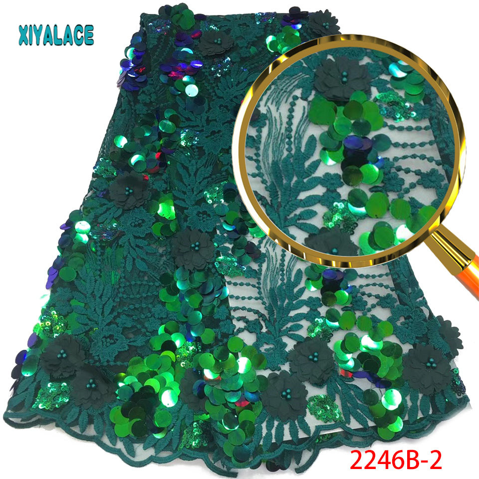 Latest African Lace Fabric High Quality Green Sequins Fabric Embroidery Lace Fabric 3d French Nigerian Party