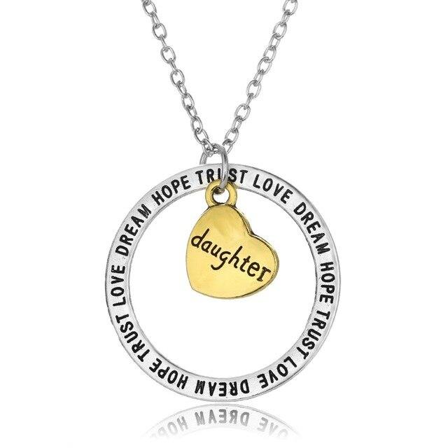 80f7bdc9010f Oro Corazón Hija Amor Sueño Esperanza Confianza Encanto de La Joyería de  Las Mujeres Collar Pendiente