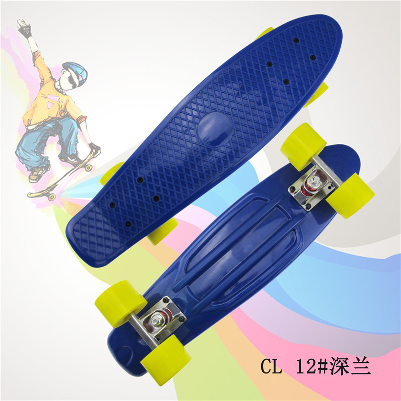 "Pastel Simple Color 22"" Style Skateboard Child Cruiser Mini Plastic Fish Skate Board With Green Wheels"