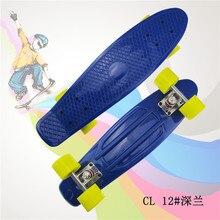 """Pastello di Colore Semplice 22 """"di Stile Bambino di Skateboard Cruiser Mini di Plastica di Pesce Skateboard Con Verde Ruote"""