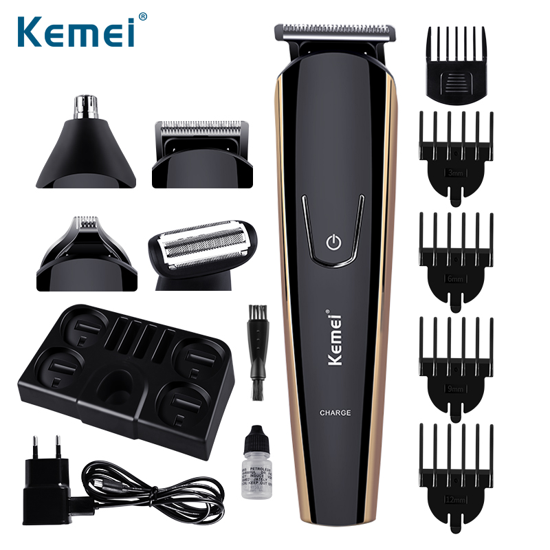 Kemei 5 in 1 Multifunctional Hair Trimmer Set Family Essential Rechargeable & Cordless Hair Clipper With Storage Base