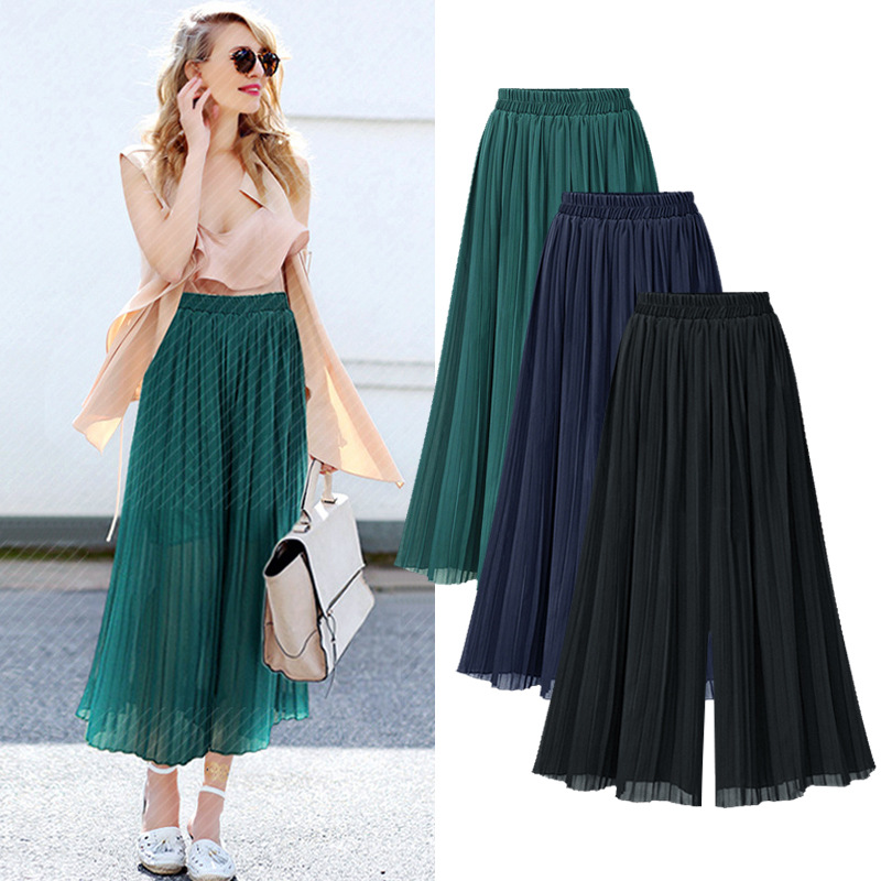 streetwear chiffon women's pants capris with high waist wide leg pants pleated for women trousers woman pants female Plus size