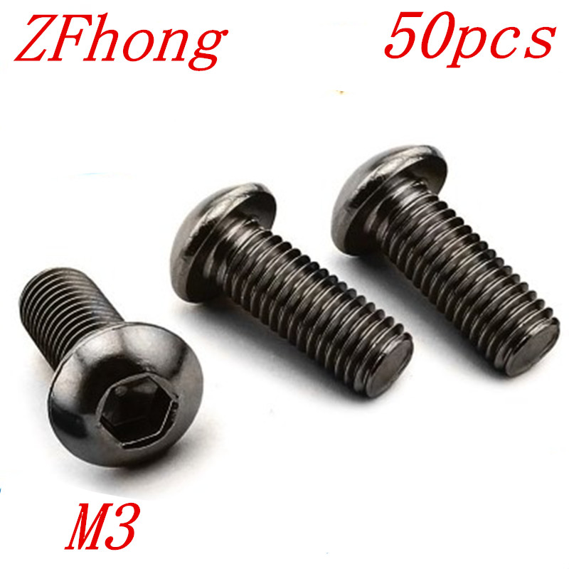50Pcs M3 Alloy Steel Screws Hex Socket Round Button Head Cap Black Screw  Bolt M3 * 6mm/8mm/10mm/12mm/16mm/20mm/30mm 50pcs lot iso7380 m3 x 6 pure titanium button head hex socket screw