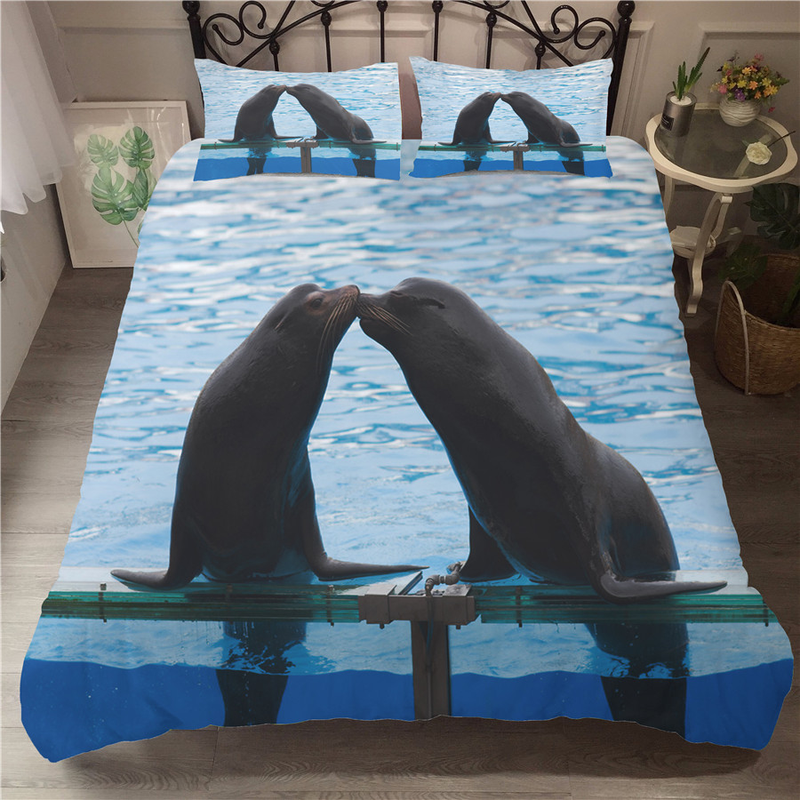 A Bedding Set 3D Printed Duvet Cover Bed Set Sea Lion Home Textiles For Adults Bedclothes With Pillowcase #HS04
