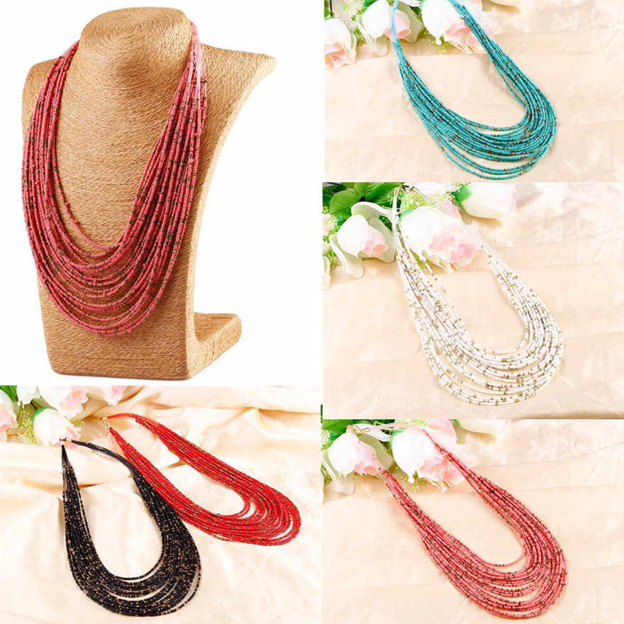 Vintage Bohemian Big Statement Beads Chain Tassel Necklaces Charm Jewelry Fashion Chunky Chain Statement Choker Necklace Jewelry