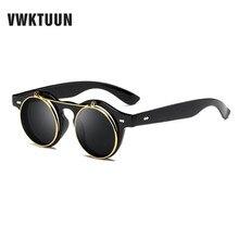 VWKTUUN Steampunk Sunglasses Women Men Retro Goggles Round Points Flip Up Glasses Seam punk Vintage Clip on  Oculos de sol