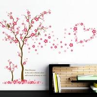 3D Rosa Pflaume blume baum liebe Wandaufkleber PVC wohnzimmer Schlafzimmer Hintergrund dekoration Wandbild Kunst Aufkleber wohnkultur aufkleber
