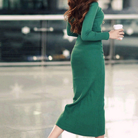 Autumn Winter High Grade Tide Style Women Dress Knitting Long Sleeve One Neck Solid Brief Large