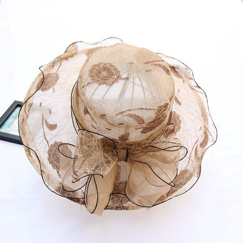 Elegant Lady Women's Silk Lace Sea Beach Hat Bling Dot Church Hats Bow Flower Summer Sun Hats Wedding Wide Brim Free Shipping