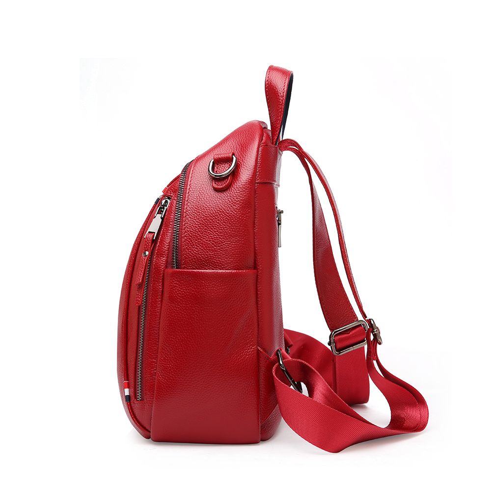 Designer แฟชั่นผู้หญิงกระเป๋าเป้สะพายหลังกระเป๋าผู้หญิงเกาหลีหนังวัวแท้คู่ซิปกระเป๋าเป้สะพายหลังหญิงสำหรับโรงเรียนหญิง-ใน กระเป๋าเป้ จาก สัมภาระและกระเป๋า บน   2