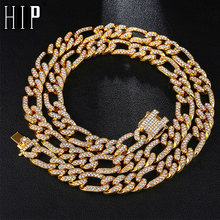 Hip Hop 13MM Gold Iced Out Paved Rhinestones Miami Curb Figaro Link Chain Necklace CZ Bling Rapper Necklaces For Men Jewelry