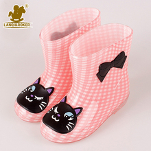 2016 New Rainboots High Quality Children's Rainboots Cartoon Style PVC Antiskid Lovely Water Boots Crystal Jelly Shoes Size24-28