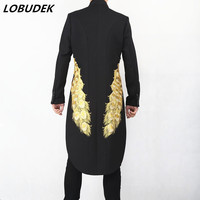 Men's Black Embroidery Long Tailcoat Fashion slim Swallowtail overcoat Male Magician Performance clothes Host Singer Costume