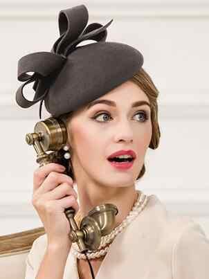 Women Winter British Fashion Wool Hat Ladies Dress Party Small Cap Female British Style Party Wool Cap