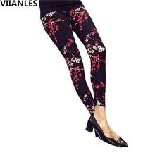 VIIANLES Print Flower Leggings Sexy Legins Push Up Plaid Fashion Summer New Women Fitness Legging high waist Plus Size