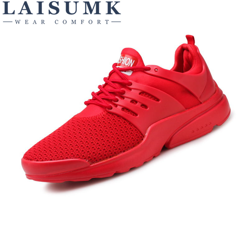 2018 LAISUMK Mesh Shoes Men Work Out Lace Up Black Red Comfortable Light Weight Casual PU Sole New Style Sapatos Casuais