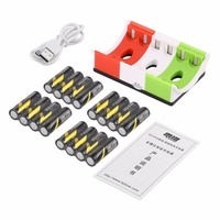 16pcs Rechargeable Batteries+8 Slots Smart Charger LED Indicator+USB Cable AA & AAA Ni MH Batteries Charger Set