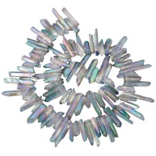 SUNYIK Green & AB Crystal Titanium Coated Crystal Points Quartz Rough Sticks Spikes Point Beads 16 inch Strand Drilled