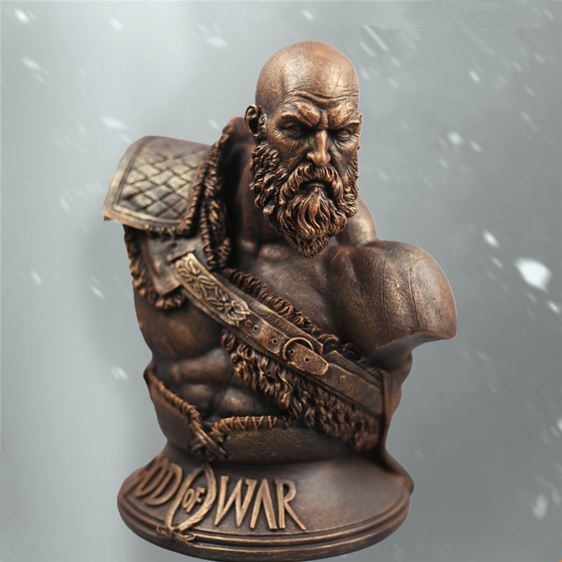Dieu de la guerre 4 Kratos 1/3 fils Zeus buste Statue Imitation cuivre blanc moule pendule modèle figurines Action modèle jouet L2562