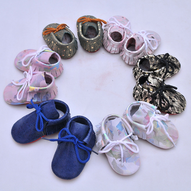 100 pairs 2017 Fashion bling bling toddler shoes genuine leather baby girl boys moccasins shoes kids bowknot toddler baby shoes