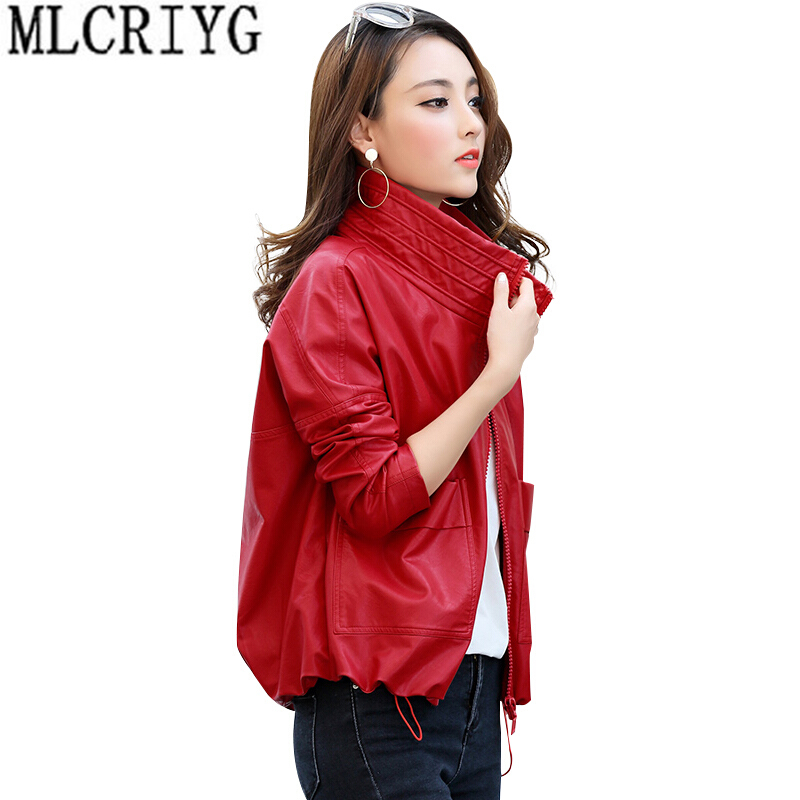 MLCRIYG Motorcycle PU   Leather   Jacket Women Autumn New 2019 Short Loose Soft Faux   Leather   Coat Zipper Outerwear Abrigos LX285