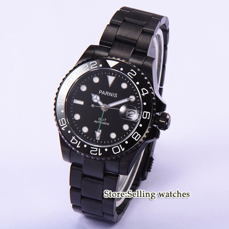 Parnis 40mm black dial GMT Style PVD case Ceramic Bezel sapphire glass Automatic watch 40mm parnis black dial ceramic bezel pvd case luminous vintage sapphire automatic movement mens watch p145