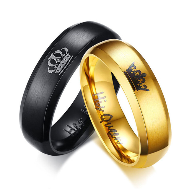 807016234a New Creative Fashion Couple Lover Wedding Rings Queen and King Gold/Black Stainless  Steel Personalized