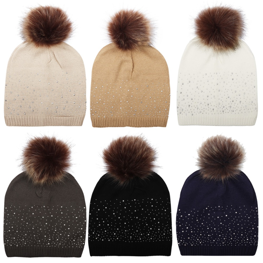 Hats/Caps Knit Wool Pom Pom Rhinestone   Skullies     Beanies   Women Slouchy   Beanie   Hat For Ladies Winter Warm Ear Cap Bonnet Gorros